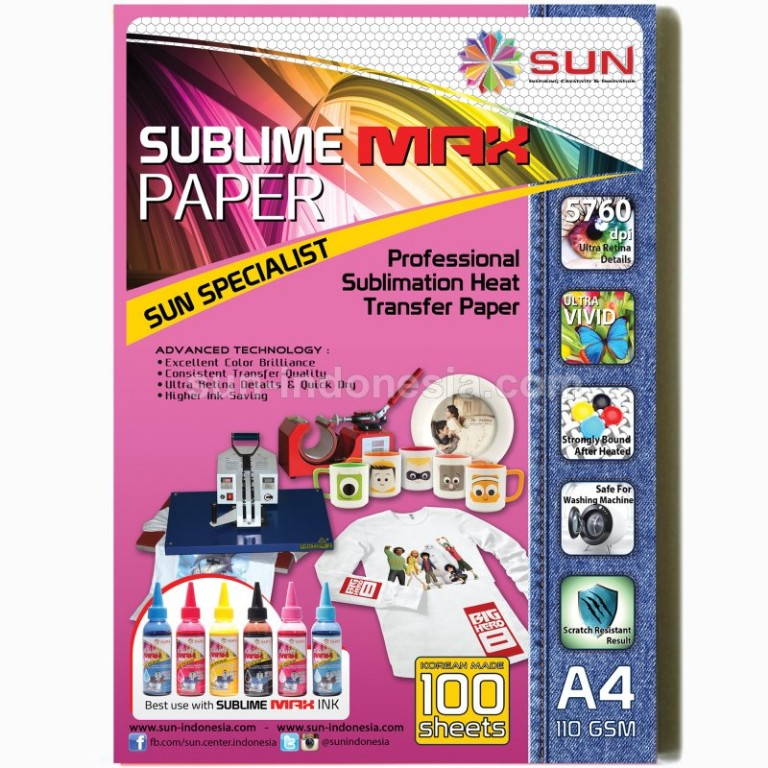 SUN SUBLIME MAX INK 100 ML (SET 6 WARNA) + Sublime Paper