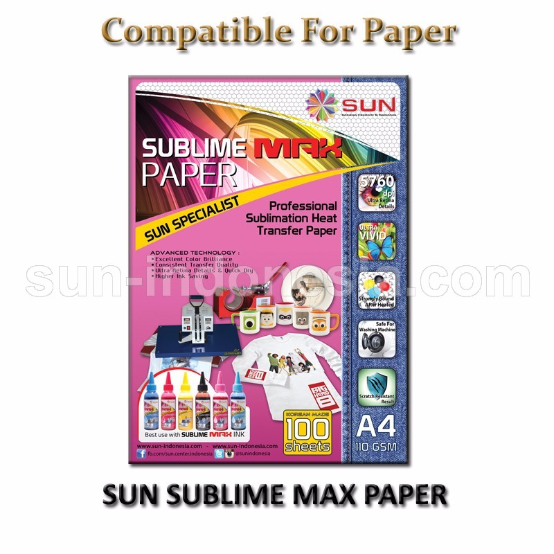 SUN SUBLIME MAX PAPER + SUN SUBLIME MAX INK 100 ML 1 SET (6 WARNA) - FREE ONGKIR